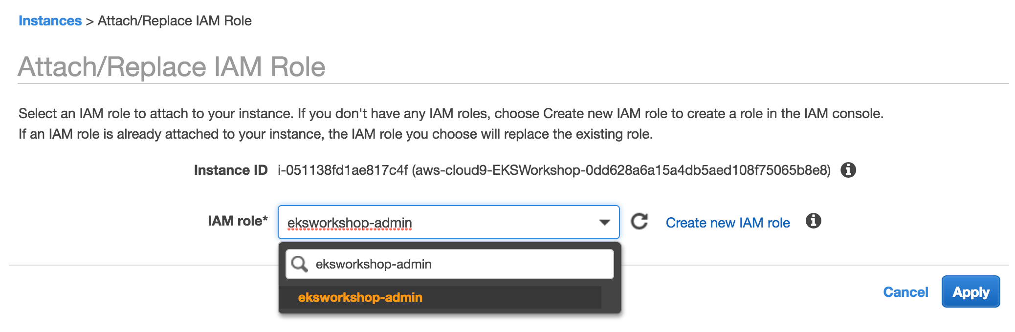 Attach the IAM role to your Workspace :: Amazon EKS Workshop